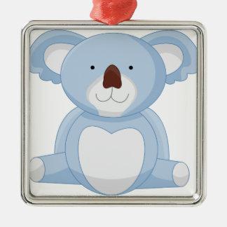 Baby-Koala-Cartoon Quadratisches Silberfarbenes Ornament