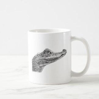 Baby-Krokodil-Tinten-Zeichnen Kaffeetasse