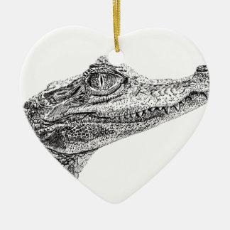 Baby-Krokodil-Tinten-Zeichnen Keramik Ornament