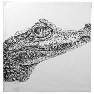 Baby-Krokodil-Tinten-Zeichnen Serviette