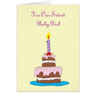 Baby, Kuchen-erster Geburtstag Karte