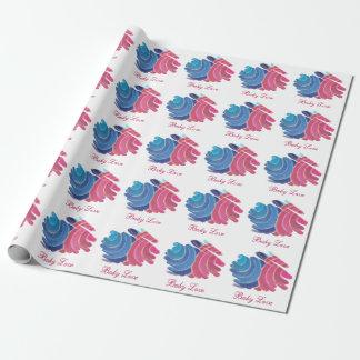 Baby-Liebe-blaue rosa Spiralen auf weißem Geschenkpapier