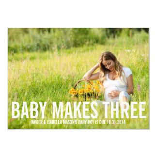 Baby macht drei | Schwangerschafts-Mitteilung 12,7 X 17,8 Cm Einladungskarte