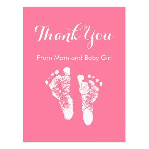 Baby-Mädchen danken Ihnen niedliche rosa Postkarte