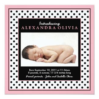 Baby-Mädchen-Foto-Polka-Punkt-Geburts-Mitteilung Quadratische 13,3 Cm Einladungskarte