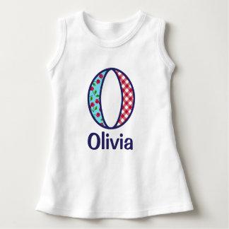 Baby-Mädchen-Kirschkleidermädchen-Monogramm-Shirt Kleid