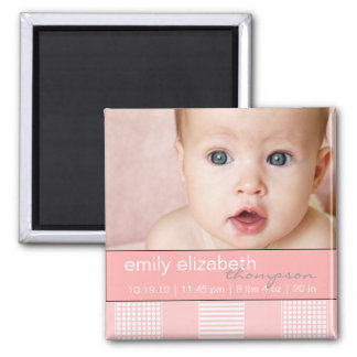 Baby-Mädchen-Rosa-moderner Foto-Magnet Quadratischer Magnet