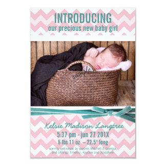 Baby-Mädchen-Rosa und aquamarines Zickzack Foto 8,9 X 12,7 Cm Einladungskarte