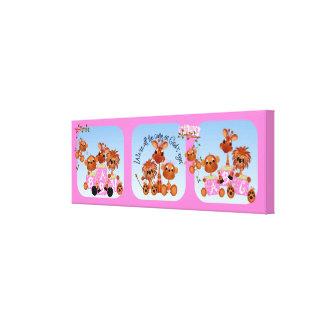 Baby-Mädchen-Safari-Tier-Kinderzimmer-Leinwand Leinwanddruck