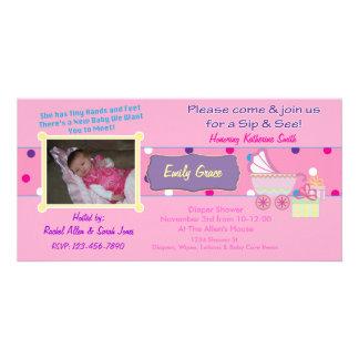 Baby-MädchenSip und sehen Duschen-Foto-Karten-Einl Fotogrußkarten