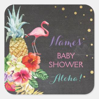 Baby-Mamma-Duschen-Aloha Flamingo Tiki Quadratischer Aufkleber