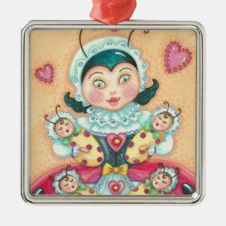 Baby-Marienkäfer MAMMA-WEIHNACHTSverzierung Silbernes Ornament