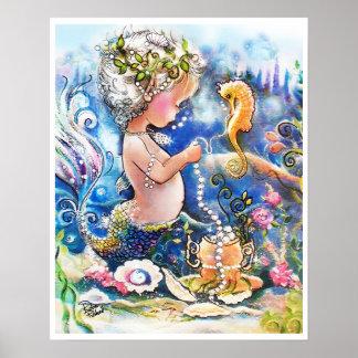Baby-Meerjungfrau und eine Schnur der Perlen Poster