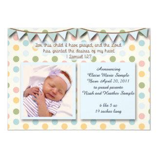 Baby-Mitteilung, christlicher Scripture für Jungen 12,7 X 17,8 Cm Einladungskarte