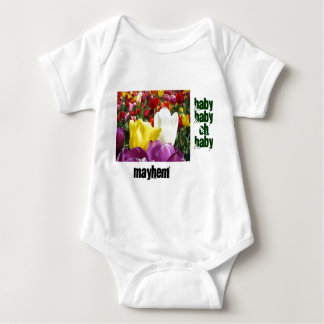 Baby Myhem Strampler-Tulpe-Blumen-lustiger Spaß T Shirt
