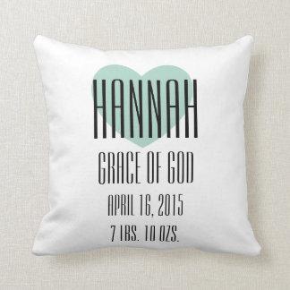 Baby-Namensbedeutungs-Kissen - Hannah Kissen