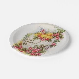 Baby-Ostern-Küken und Rosen-PapierTeller Pappteller