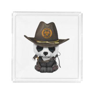Baby-Panda-Bärn-Zombie-Jäger Acryl Tablett