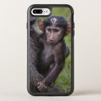 Baby-Pavian, der zu seinem Vati eingeführt wird OtterBox Symmetry iPhone 8 Plus/7 Plus Hülle