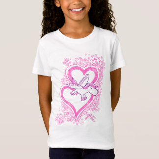 Baby Pegasus mit Skizze-Gekritzel-Herz-T - Shirt
