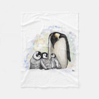 Baby-Pinguin-Familie Fleecedecke