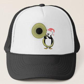 Baby-Pinguin mit Tuba Truckerkappe