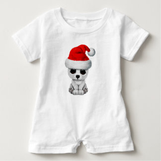 Baby-polarer Bär, der eine Weihnachtsmannmütze Baby Strampler