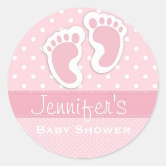 Baby-rosa Abdruck-Tupfen-Duschen-Aufkleber Runder Aufkleber