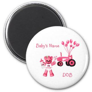 Baby-Rosa-Bär und rosa Traktor-Magnet Runder Magnet 5,7 Cm