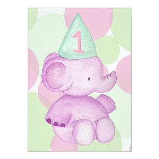 Baby-rosa Elefant-laden 1. Geburtstags-Party ein 11,4 X 15,9 Cm Einladungskarte