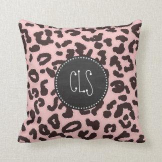 Baby-Rosa-Leopard-Tierdruck; Tafel Kissen
