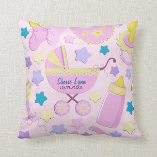 Baby-Rosa-Sterne und Wagen-Andenken-Kissen Kissen