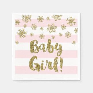 Baby-rosa Streifen-Goldschnee-Babyparty Papierservietten