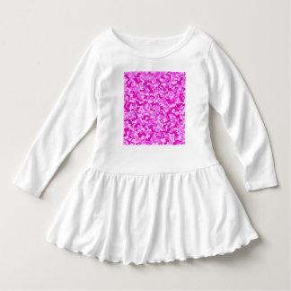 Baby-Rosa-u. Weiß-Camouflage-Rüsche-Kleid Kleid