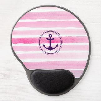 Baby-Rosa-Wasserfarben mit lila Anker Gel Mousepad