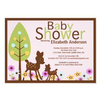 Baby-Rotwild-Mädchen-Babyparty-Einladung Karte