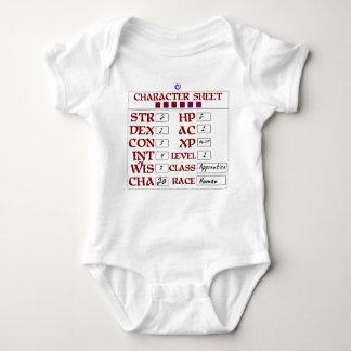 Baby RPG-Charakter-Blatt des Niveau-1 menschliches Babybody