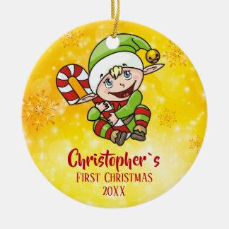 Baby ` s erstes Weihnachtself-Zuckerstange-Gelb Keramik Ornament