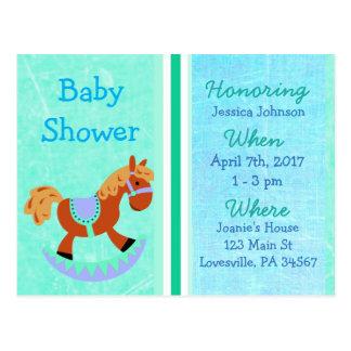 Baby-Schaukelpferd-blaue Babyparty-Einladung Postkarte