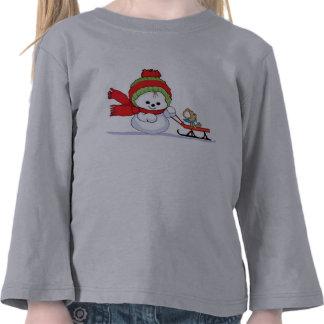 Baby-Schneemann, der Wagen drückt T Shirts
