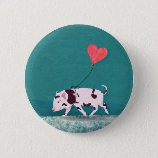 Baby-Schwein mit Herz-Ballon Runder Button 5,7 Cm