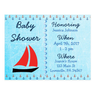 Baby-Segelboot-blaue Babyparty-Einladung Postkarte