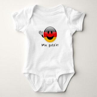Baby-Shirt Wie gehts, deutscher Flaggen-Smiley, Baby Strampler