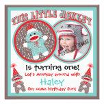 Baby-Socken-Affe-Geburtstags-Party Einladungen