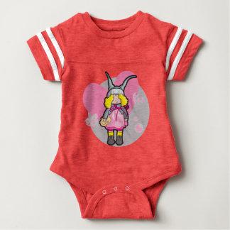 Baby-Sport-Bodysuit, rot mit Puppe mit Teddybären Baby Strampler
