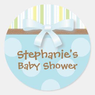 Baby-Streifen + Punkt-blaues Grün-Bevorzugungs-Auf Runde Sticker