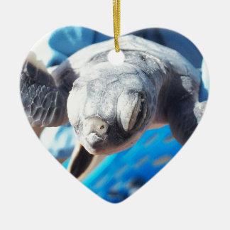 Baby-Suppenschildkröte Keramik Herz-Ornament