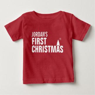 Baby-T - Shirt-Rot des Babys erstes Weihnachts Baby T-shirt