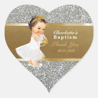 Baby-Taufe danken Ihnen, | Goldsilber zu Herz-Aufkleber
