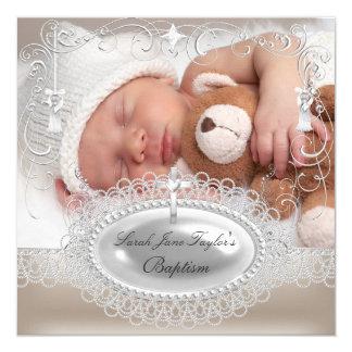 Baby-Taufe-Mädchen-Jungen-Taufperle Quadratische 13,3 Cm Einladungskarte